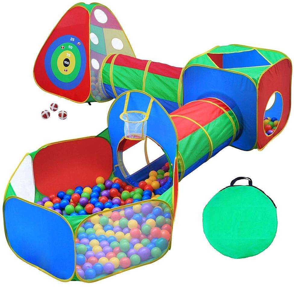 5pc Kids Ball Pit Tents and Tunnels, Toddler Jungle Gym Play Tent with Play Crawl Tunnel Toy
