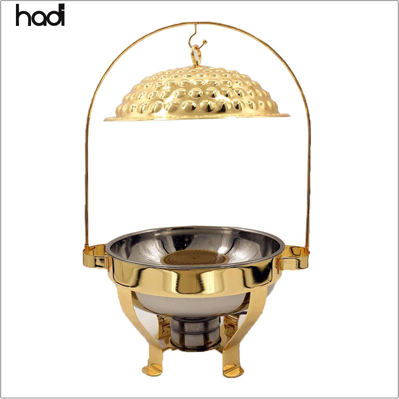 Arabische Restaurant ausstattung Deluxe Golden Table Food Warmer dekorative Phantasie <span class=keywords><strong>Catering</strong></span> serviert hängende gehämmerte Chafing Dish