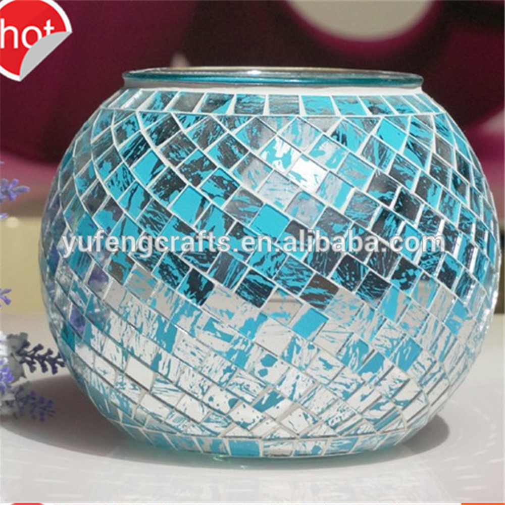 New design glass mosaic candle holder glass ball candlestick glass gift for home