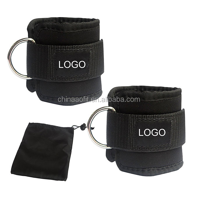 D Ring Custom Weight Lifting Neoprene Fitness Adjustable Sports Ankle Anchor Straps