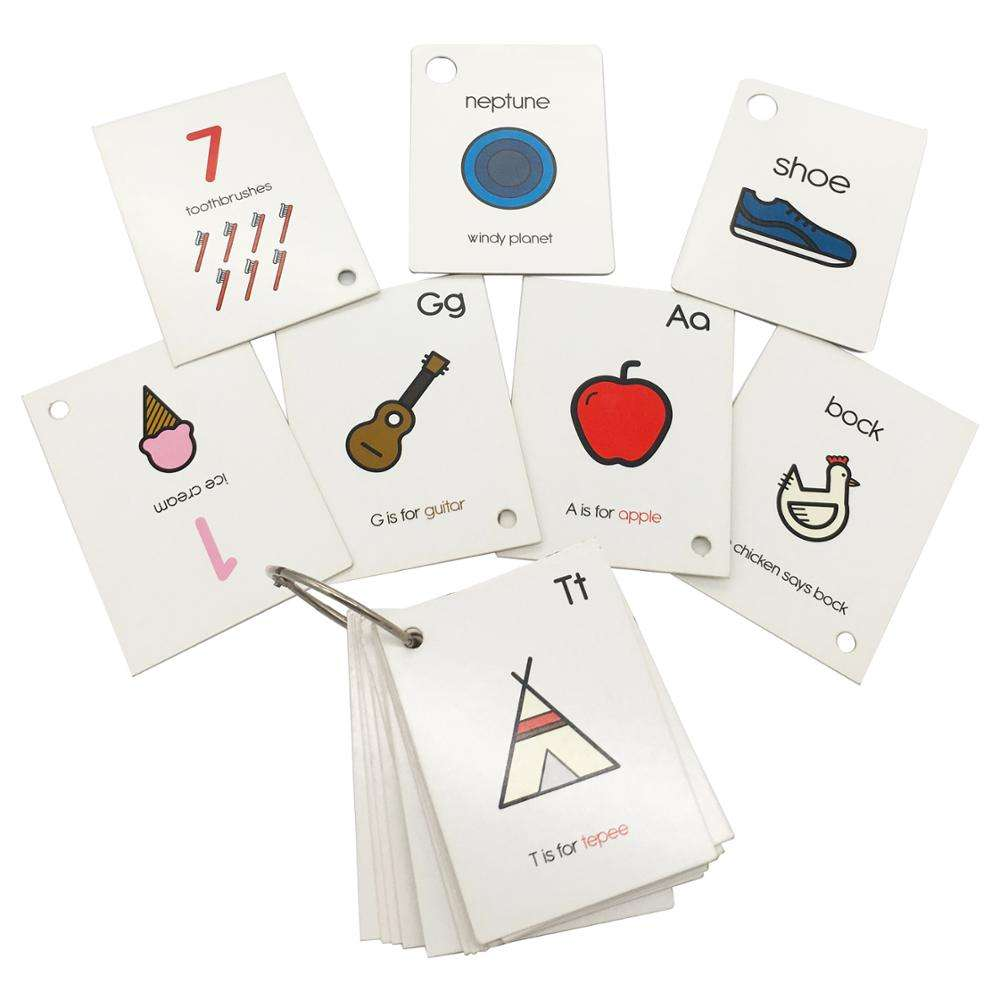 Printed Customized Children educational card stock paper flash card learning cards