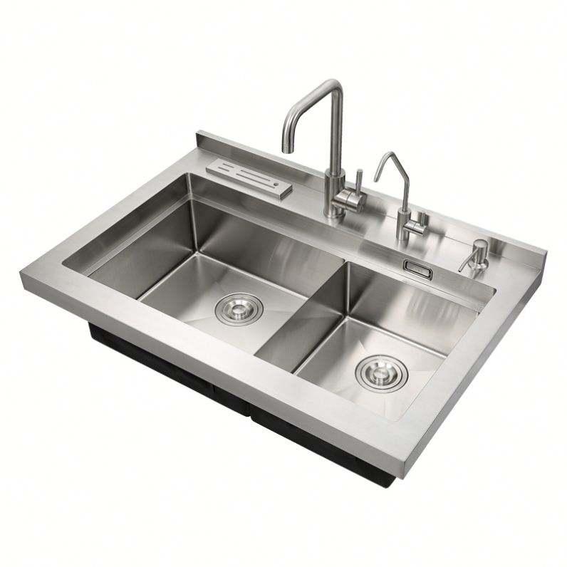 Kitchen sink price double bin storage