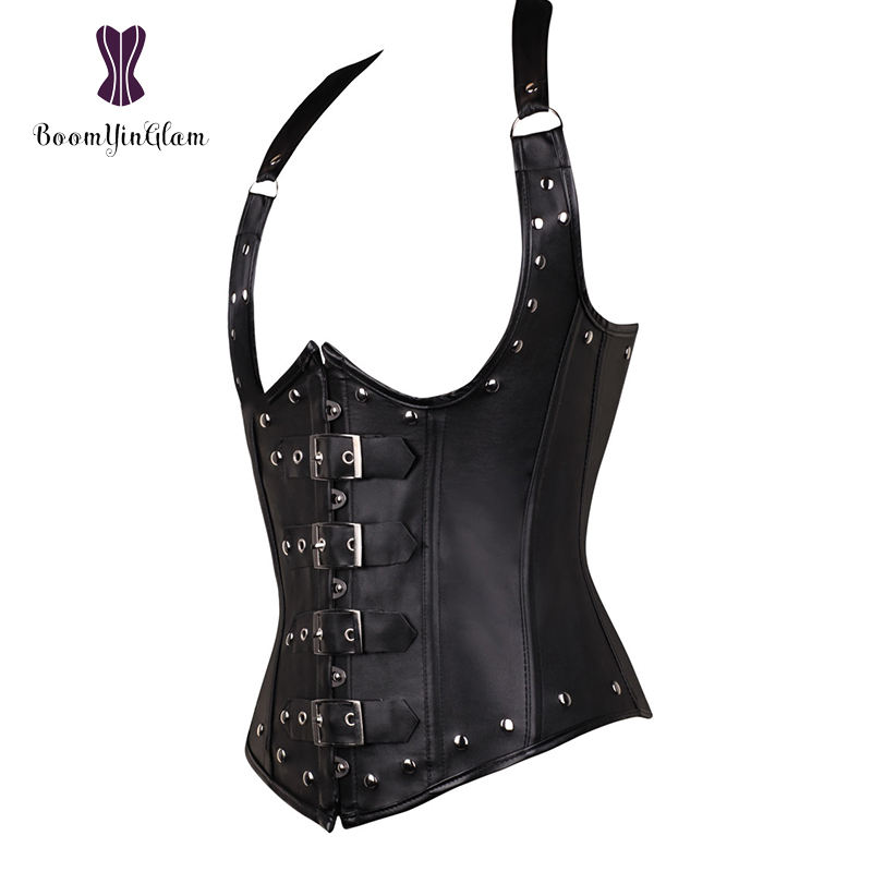 Faux Latex Corselet Body Shapers 12 Steel Boned Cupless Corset For Waist Training