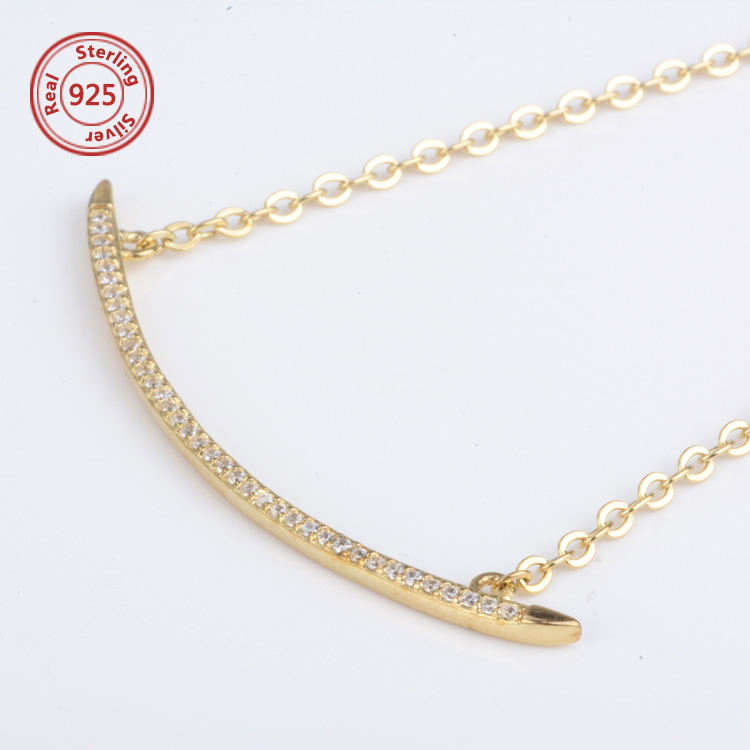925 silver cz necklace gold Curve Bar Necklace different types of necklace chains jewelry