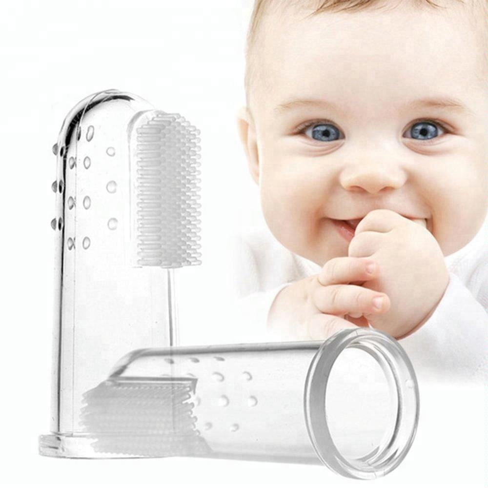 Baby Tooth Brush Oral Massager Teether Infant Soft Finger Teething Brush for Tooth Cleaning