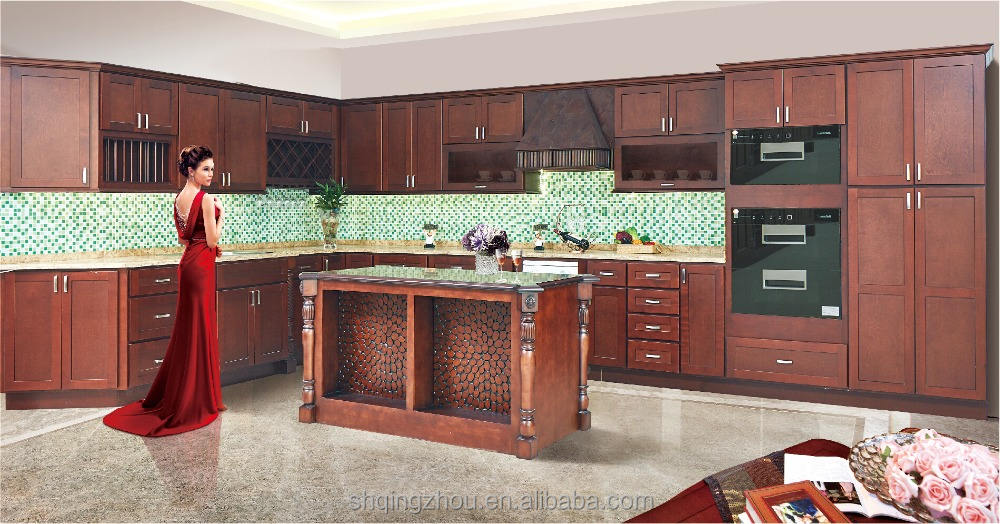 Antique Modular Style Kitchen Cabinet Wine Rack Cabinet with Island