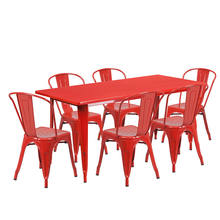 Metal table and chair 6 seaters 1 table industrial dining table set