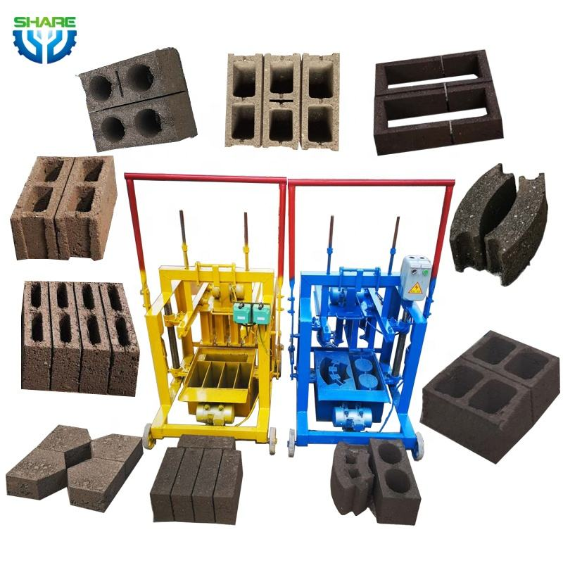 Mobile Manual Hollow Brick Block Maker Concrete Cement Brick Block Making Machine manufacturer lowest Price