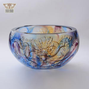 Colored Crystal Handmade Dragon Treasure Bowl Collecting Money Fengshui Decoration
