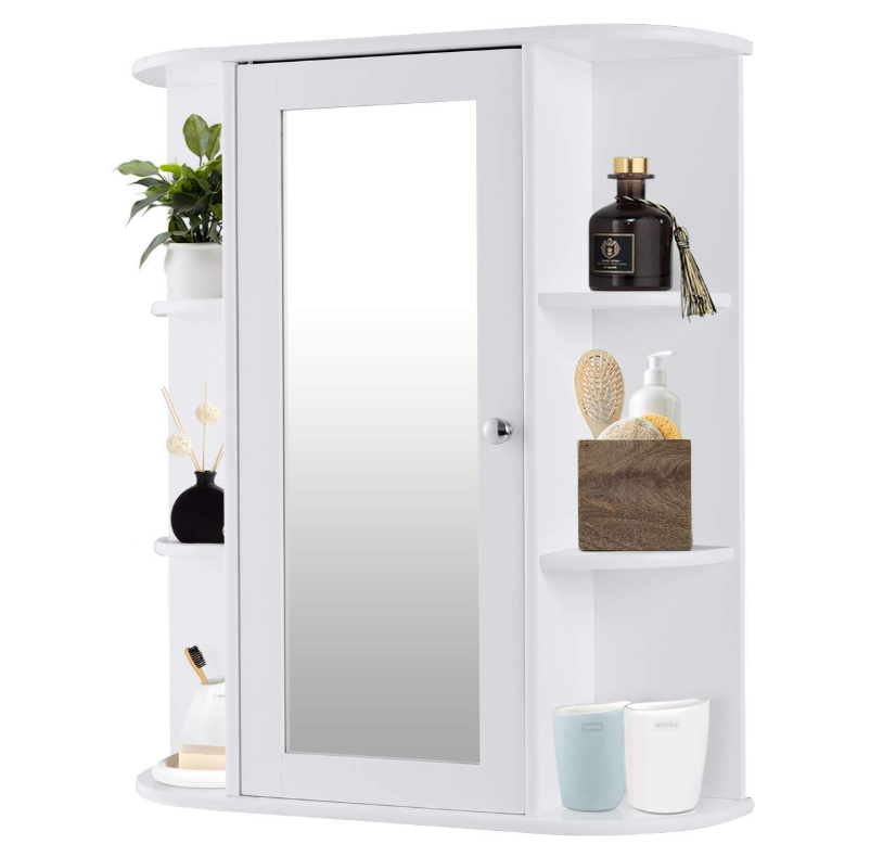 NO.4455 Bathroom Cabinet, Single Door Wall Mount Medicine Cabinet with Mirror(2 Tier Inner Shelves)