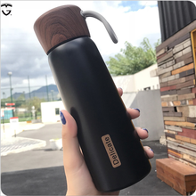 400ml 500ml insulated infuse double wall stainless steel water bottle vaccum tea cute wooden thermos plastic flask