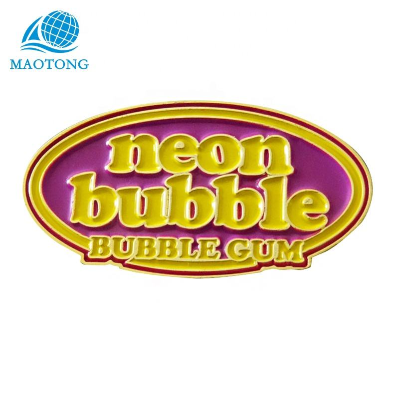 3d metal pin pictures bubble gum name badge custom badge pin