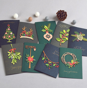 Low volume wholesale handmade custom 3D hot stamping print birthday Merry Christmas New Year greeting card