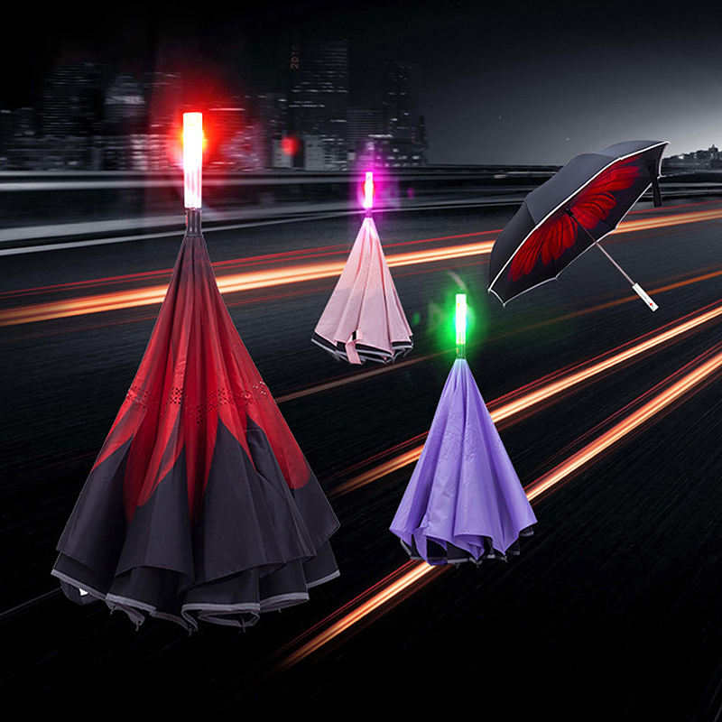 LED reverse umbrella Custom outdoor LED with SOS light reflective reverse inverted car umbrella