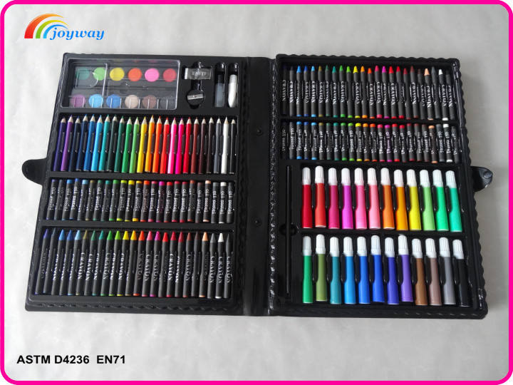 Set of 168 Drawing Pen Art Set Kit Painting Sketching Color Pencils Glue with Case for Children