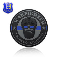 Thin Blue Line Design Pvc Rubber Label Hot Sale Punisher PVC Patch With Hook And Loop