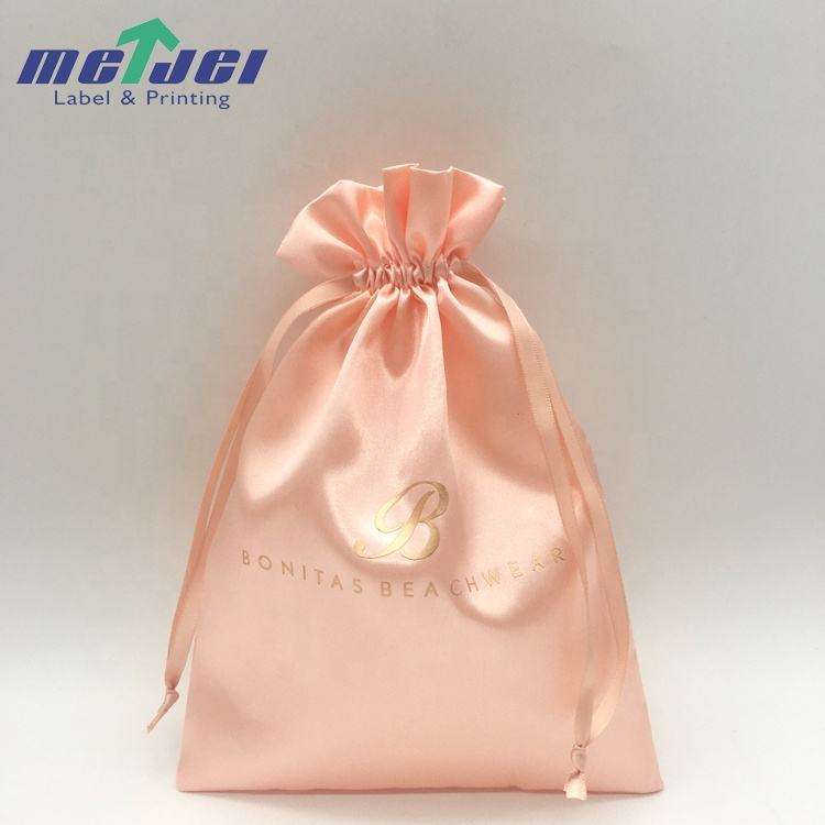 Custom logo soft drawstring satin pouch, swimsuit and bikini packing silk bags