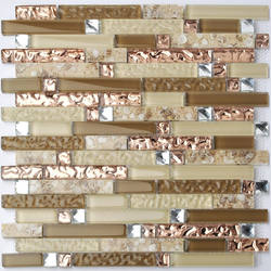 Crystal Glass Diamond Mosaic Resin Conch Tile Rose Gold Wave Backsplash Brown and Beige Tiles--glass tiles