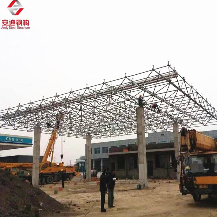 Construction roofing design steel space frame petrol station for sale