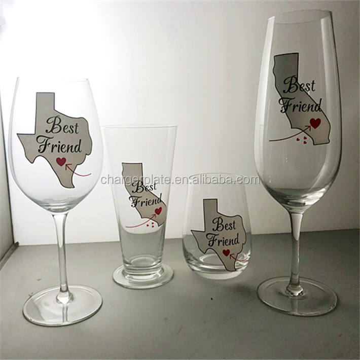 Custom Fancy Decal Printed Map Etched Wine Glass for Dinning Table Glasses
