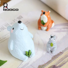 roogo hot sale & high quality miniature resin animals cute fairy animal ornament