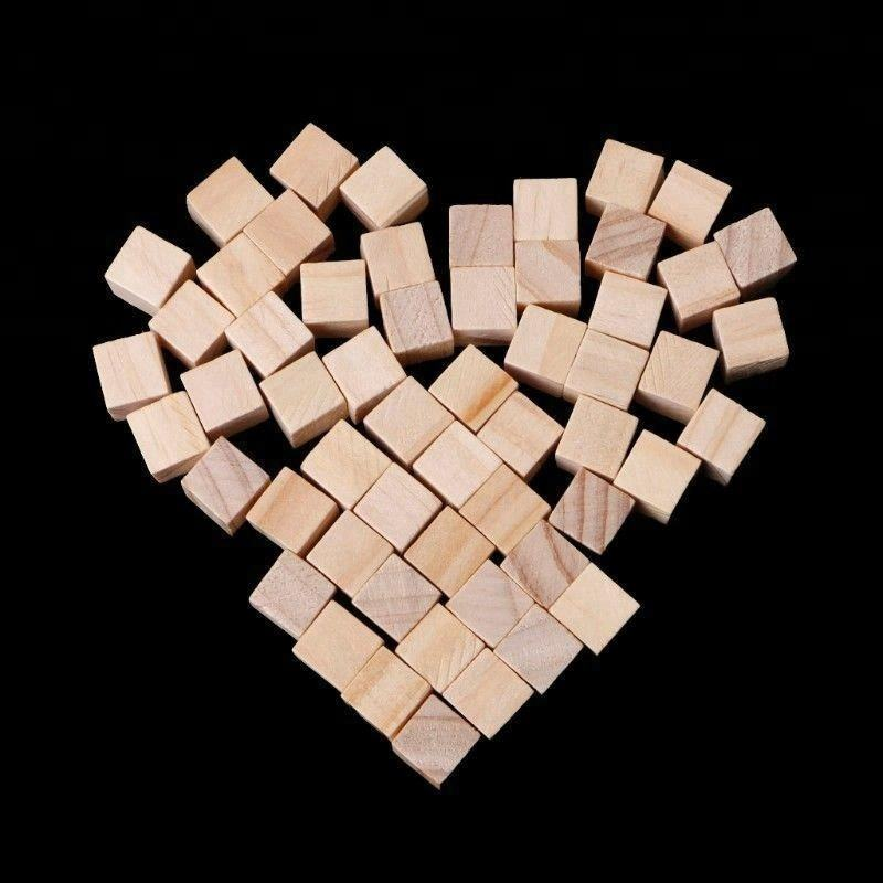 "mini Natural Unfinished HardWood 1"" Wood Blocks Square Cubes Wooden activity cube Crafts NEW"