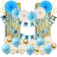 Baby Shower Decorations for Boy Hollow Paper Fan Balloons Banner Gold Foil Fringe Curtain Kit for Baby Boy Shower Gifts Favor