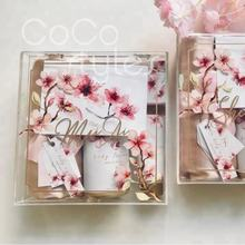 Cocostyles personalized elegant clear acrylic wedding bridesmaid gift box with colorful printing for valentine's day gift set