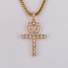 iced out AAA CZ ankh cross pendant with 29 diamonds
