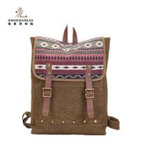 Wholesale italian handbags fashion unique national wind canvas backpack bag customized Canvas handbag