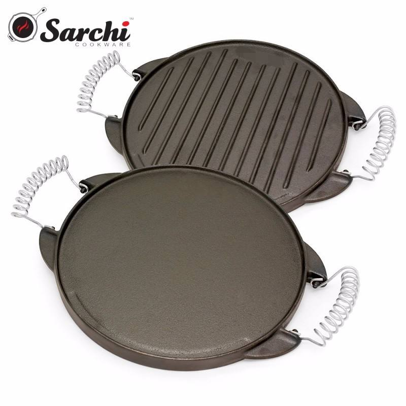 Cast iron reversible round griddle pan with folding handle