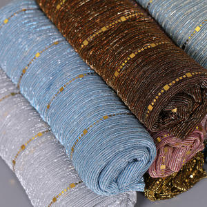 2019 new design 23 colors shine thread pleated beaded hijab