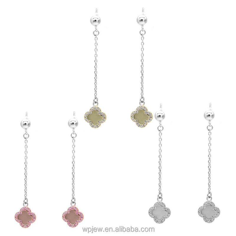 925 Sterling Silver 듐 Rose Gold Plated 석 Crystal 클로버 Women 패션 Drop 매달려 Stud Earring