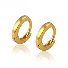 97650 Xuping fashion copper alloy 24k gold plated plain huggies earring