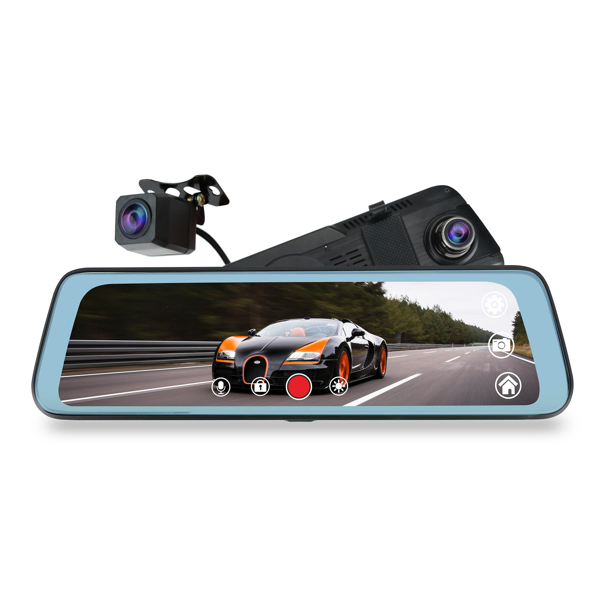 "J66 9.66"" dual full hd 1080p dash camera dual record Stream Media Mirror full screen display mirror camera"
