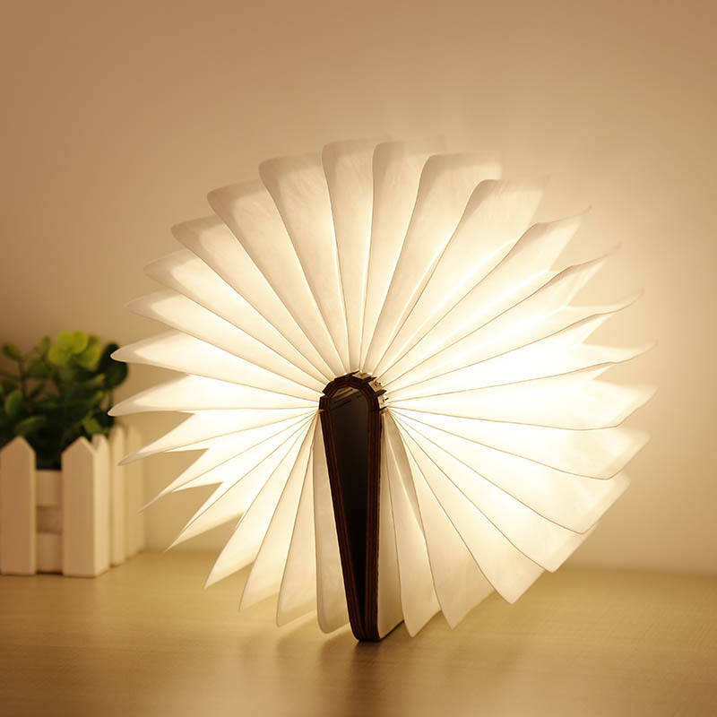 led reading book tyvek paper folding led lamp book with wooden cover