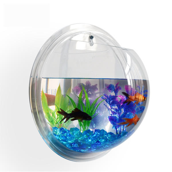 Shopping New Products Fashion Fishbowl Hanging Acrylic Wall mounted Fish Tank Aquarium Bubble Bowl Fish Plant Pot Modern Home De