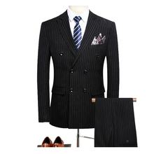 2019 new arrival Navy striped suit wool blend suits for men