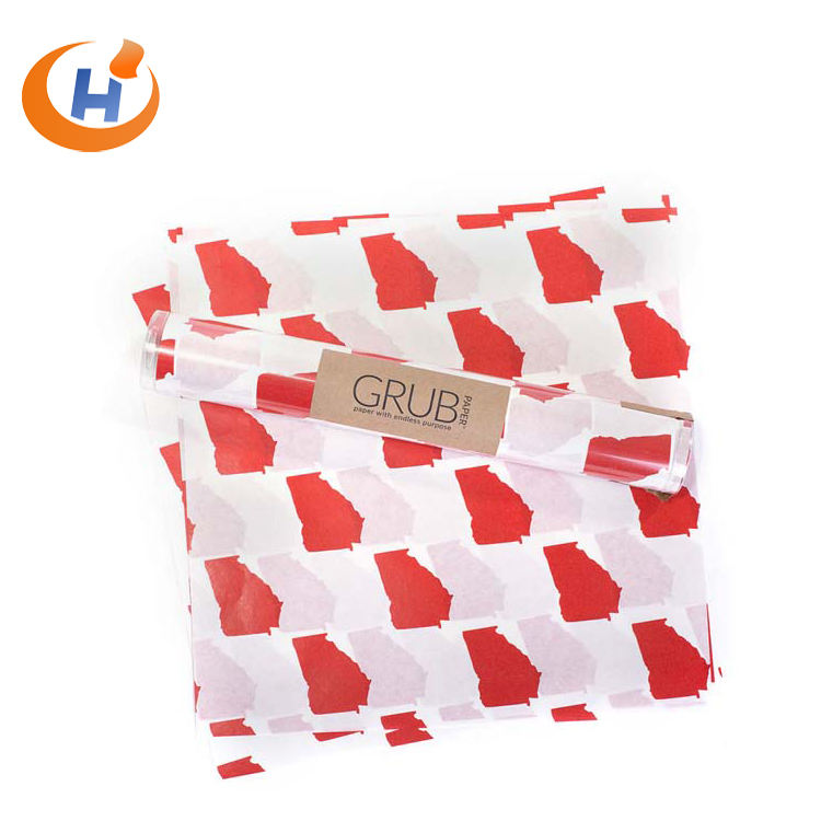 Biodegradable 100% Pure Wood Pulp Fulton Fulton HP39 bleached coloured burger wrapping paper wax paper