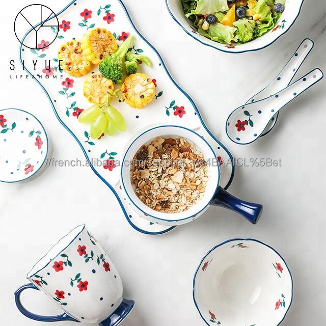 Peint à la main pastorale style petite fleur de table en grès <span class=keywords><strong>ware</strong></span>