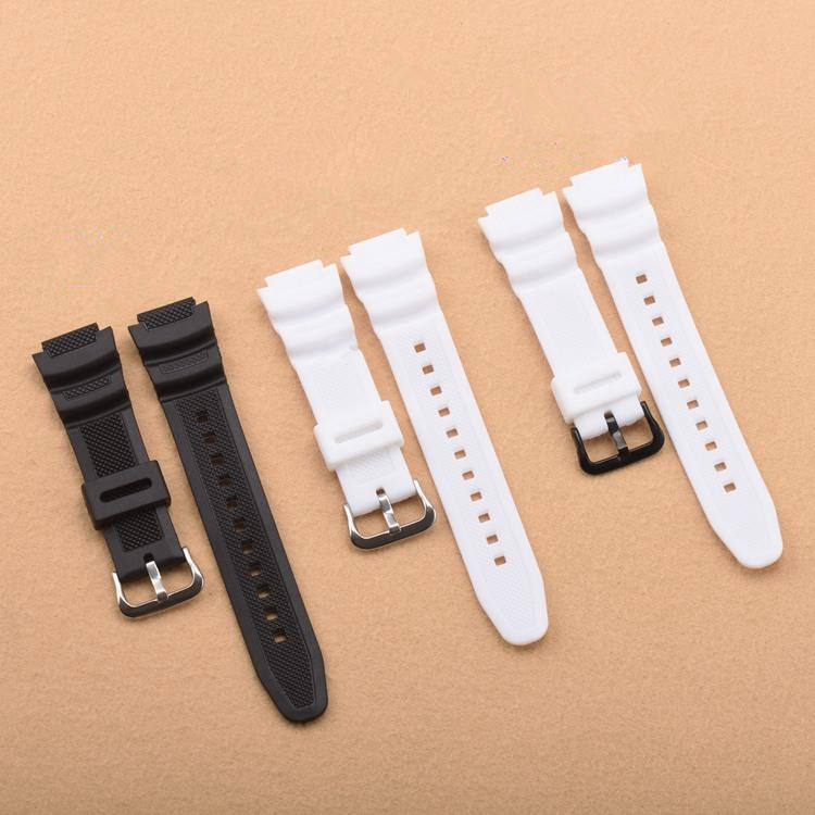 Watch universal 18mm watch band black and white TPU silicone rubber smart watch strap for CASIO
