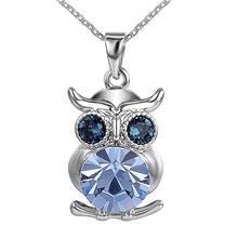 N1102724 2.8cm*1.4cm personalized design jewelry charm pendant silver owl has rhinestone eyes charm trendy necklace