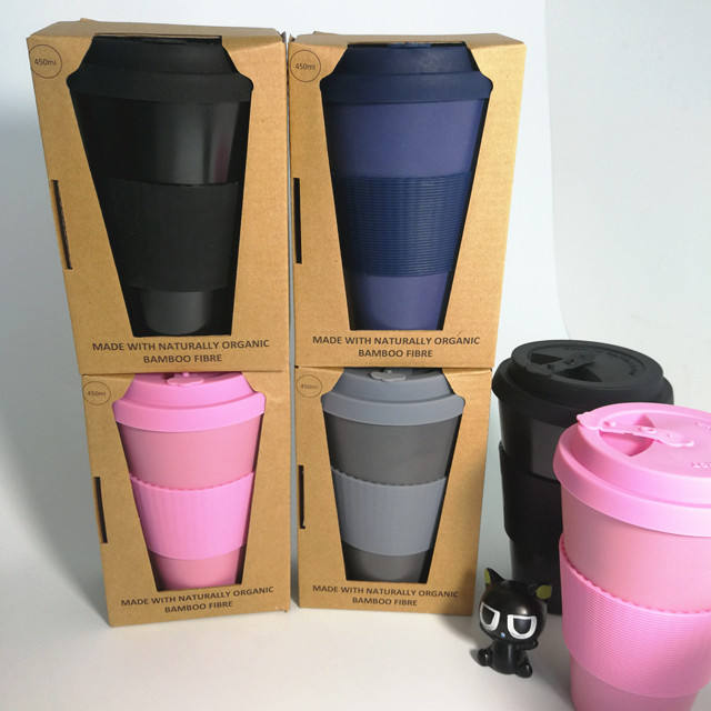 100% colorful travel bamboo fiber coffee mug
