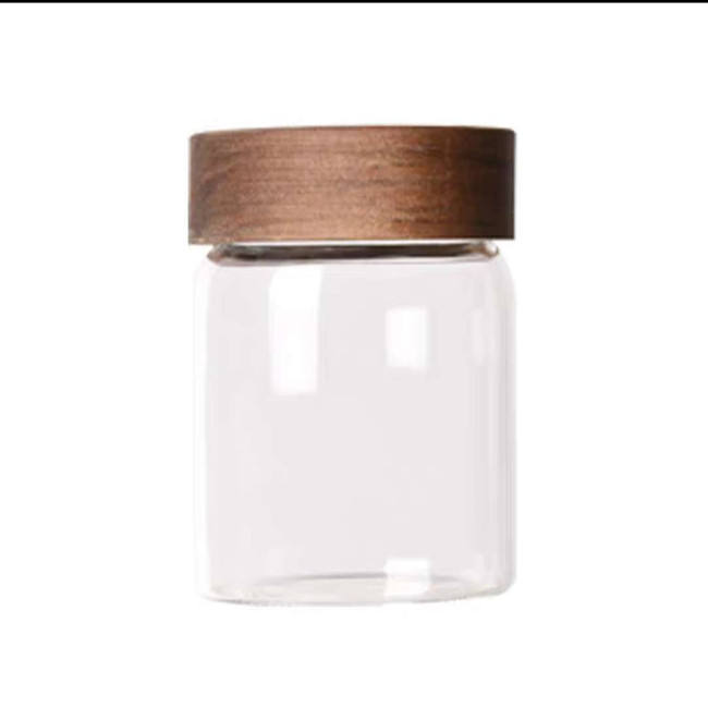 airtight food storage borosilicate glass jar with beech wooden lid