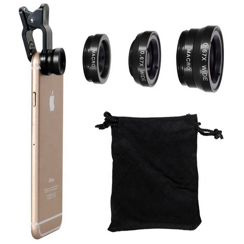 China manufacturers universal 3 in 1 mobile Phone Len Fisheye camera Wide Angle Macro fish eyes lens for iphone