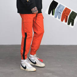 Latest design high quality 100% cotton color block jogger many colors men cargo pants