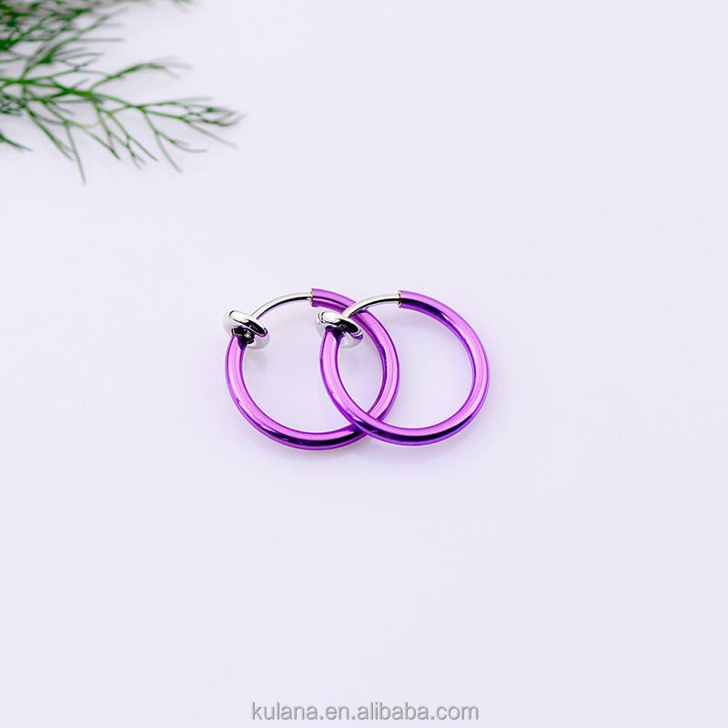 Caliente venta 15 mm pendientes púrpuras, pendiente de la joyería del cuerpo