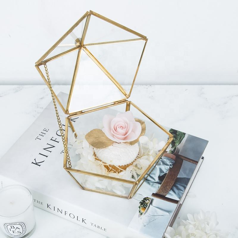 rose gold glass crystal Vases ring jewelry box gifts copper decorative metal pyramid trinket storage ring box geometric