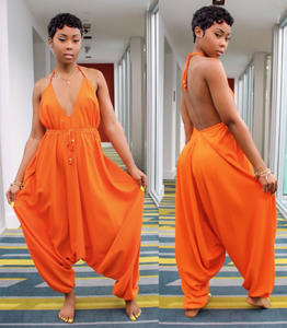 4 Colors African Casual Loose Women Backless Jumpsuit With Long Pants