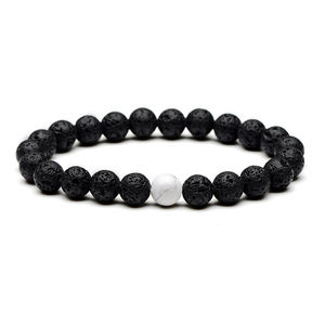 Fashion 8mm Volcanic Stone White Pine Couple Hand String Frosted Black Agate Friendship Bracelet
